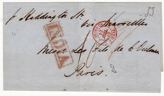 [17602]  INDIA - FRANCE...1849 PRE-STAMP INDIA PAID via P & O BOMBAY to SUEZ...  1849 (Jun 5)