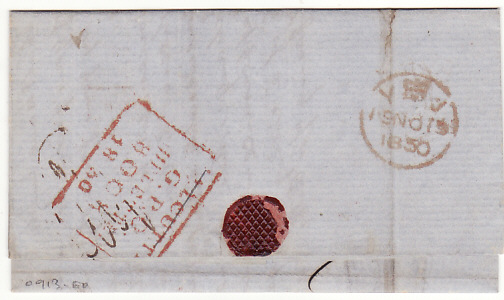 "[17603]  INDIA - GB...1850 PRE-STAMP VIA P & O ""HADDINGTON"" BOMBAY to SUEZ...  1850 (Oct 10)"