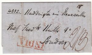 "INDIA - GB...1850 PRE-STAMP VIA P & O ""HADDINGTON"" BOMBAY to SUEZ..."