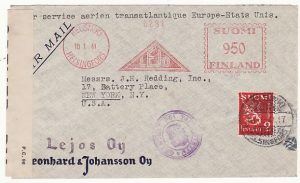 FINLAND - USA…WW2 METER FRANKED CENSORED AIRMAIL..
