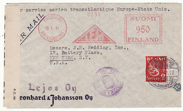 [18730]  FINLAND - USA…WW2 METER FRANKED CENSORED AIRMAIL..  1941 (Jan 10)
