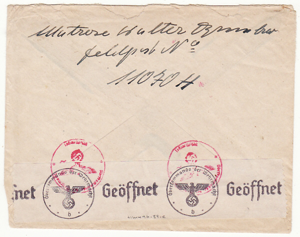 [17521]  GERMANY-SWEDEN...WW2 FELDPOST MAIL to OVERSEAS...  1941(Jul 27)