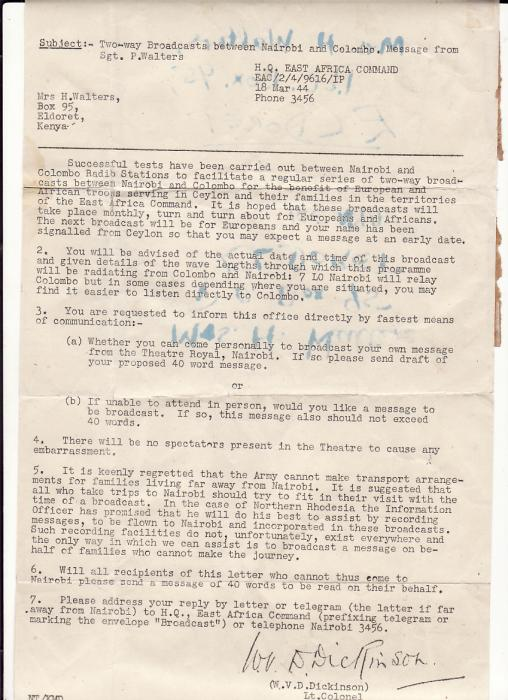 [17466]  KENYA.. WW2.. INTELLIGENCE PROPAGANDA 2 WAY BROADCAST NAIROBI & CEYLON DOCUMENT NOTIFICATION...  1944 (Mar 18)