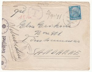 GERMANY-SWEDEN...1941 FELDPOST MAIL to OVERESEAS & TAXED...