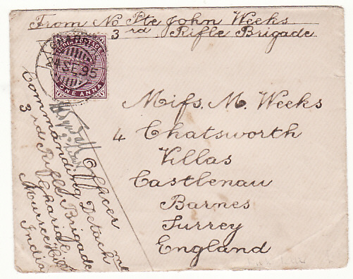 [17617]  INDIA - GB ....1895 SOLDIERS LETTER from MURREE HILLS...  1895 (Sep 18)