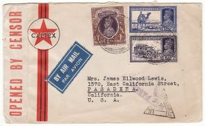 INDIA - USA...WW2 AIR MAIL via HONG KONG ...