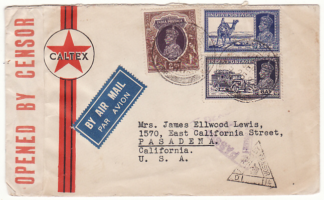 [17658]  INDIA - USA...WW2 AIR MAIL via HONG KONG ...  1940 (Sep 2)