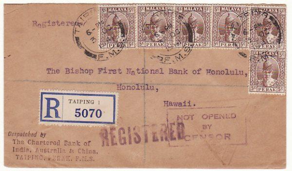 MALAYA - HAWAII...WW2 PERAK REGISTERED via HONG KONG....