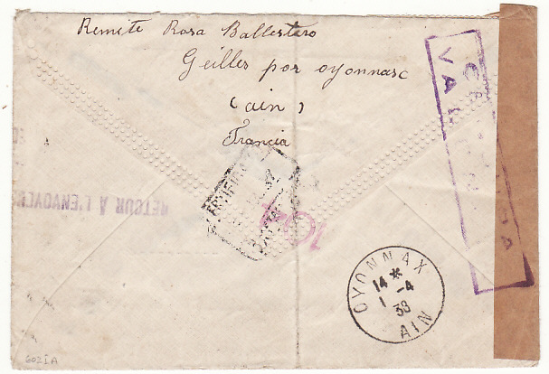 [17730]  FRANCE - SPAIN...SPANISH CIVIL WAR RETURNED MAIL...  1937 (Jul 28)