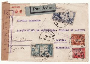 FRANCE - SPAIN...SPANISH CIVIL WAR RETURNED MAIL...