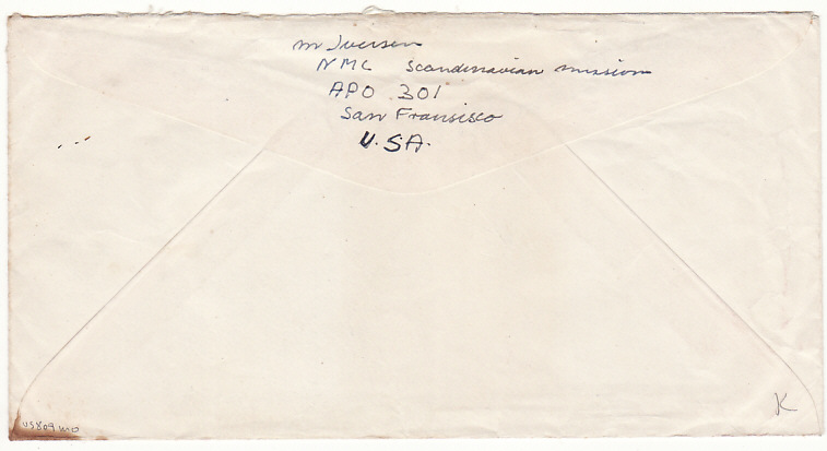 [17765]  KOREA - USA...1960 NML SCANDINAVIAN MISSION APO 301 POST KOREAN WAR...  1960 (Jul 1)