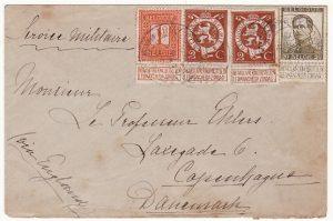 BELGIUM -DENMARK...1915 NURSES MAIL from AMBULANCE L' OCEAN FIELD HOSPITAL....