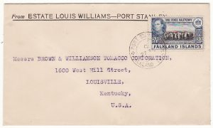 FALKLAND ISLANDS - USA...1938 COMMERCIAL MAIL to TOBACCO CORP....