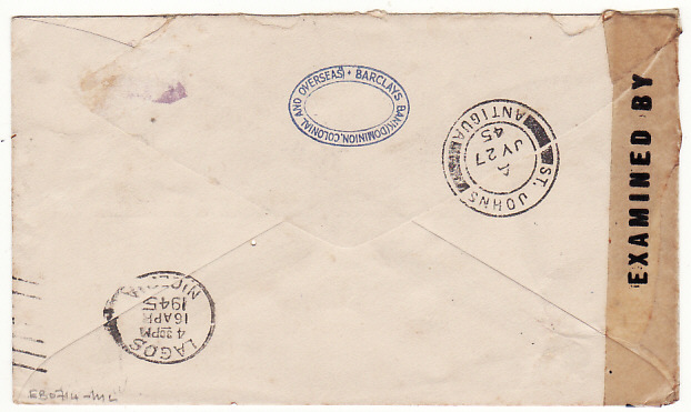 [17778]  KENYA - ANTIGUA...WW2 CENSORED AIRMAIL BANK MAIL...  1945 (Apr 7)