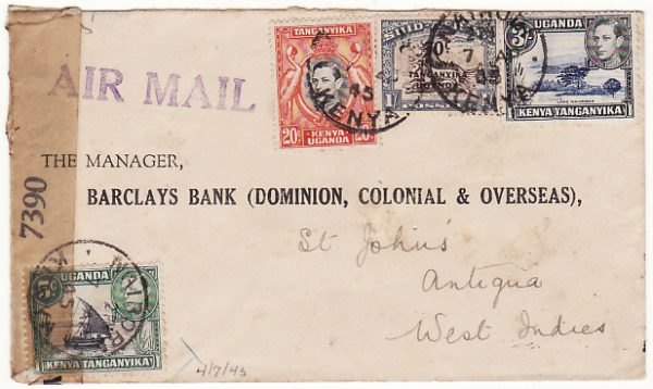 KENYA - ANTIGUA...WW2 CENSORED AIRMAIL BANK MAIL...