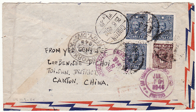[17799]  CHINA - USA...REGISTERED AIRMAIL from RI BEN, CANTON...  1946 (Jun)
