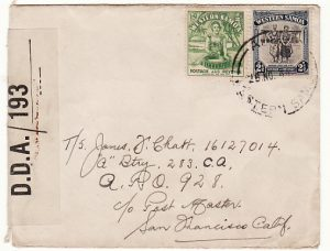 SAMOA - NEW GUINEA...1944 RARE CENSOR to US APO 928...
