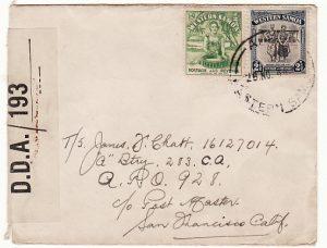 SAMOA - NEW GUINEA...1944 RARE CENSOR to US APO 928...