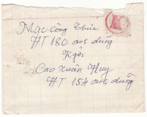 VIET-NAM...VIET CONG SOLDIER MAIL with V.C POSTAGE PAID LABEL...