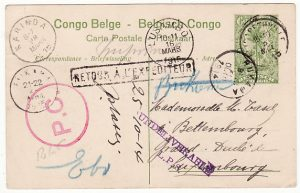 BELGIAN CONGO - LUXEMBOURG... 1914 RETURNED TO SENDER...