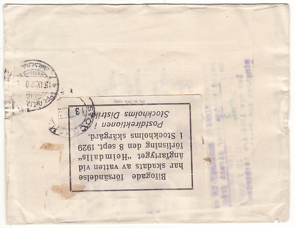 [17864]  GB - FINLAND...WRECK MAIL from SS HEIMDALLS off SWEDISH COAST ... 1929 (Sep 8)