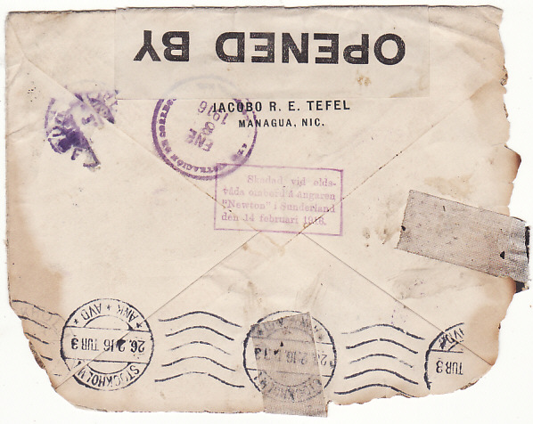 [17866]  NICARAGUA - SWEDEN...WRECK MAIL from SS NEWTON DUE to FIRE ...   1916 (Jan 8)