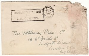 AUSTRALIA - GB...WRECK MAIL from SS COMORIN DAMAGED by FIRE at COLOMBO ...