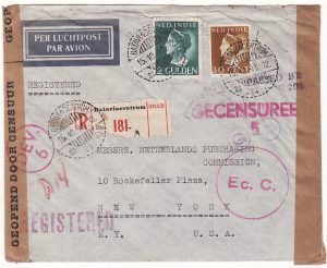 NE I- USA...TRANS PACIFIC DOUBLE CENSORED REGISTERED AIRMAIL