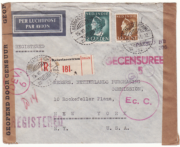 "[17897]  NE I- USA...TRANS PACIFIC DOUBLE CENSORED REGISTERED AIRMAIL  ""1941 (Oct 15)"