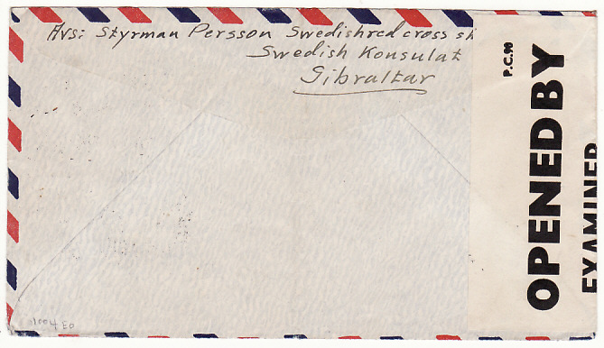 [17913]  GIBRALTAR - SWEDEN....WW2 CENSORED AIRMAIL O.A.T....  1945 (Feb 14)