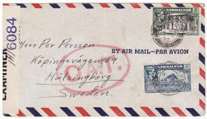 GIBRALTAR - SWEDEN....WW2 CENSORED AIRMAIL O.A.T....