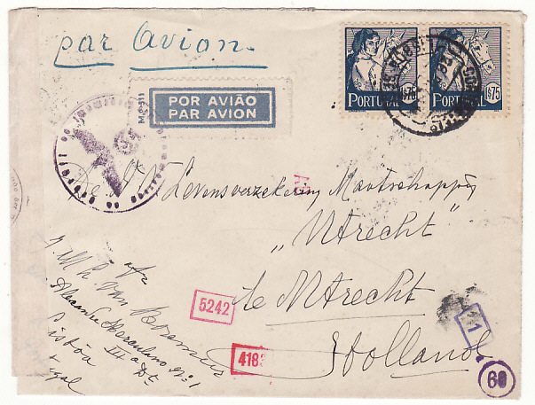 [17914]  PORTUGAL - HOLLAND...WW2 POLISH RED CROSS UNDERCOVER MAIL...  1941 (Dec 26)