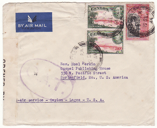 [17938]  CEYLON - USA...WW2 TRANS-AFRICA AIRMAIL with OAT..  1944 (Sep 12)