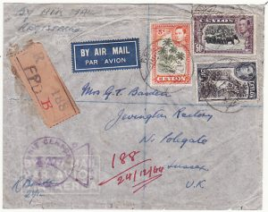 CEYLON - GB...WW2 REGISTERED AIRMAIL..