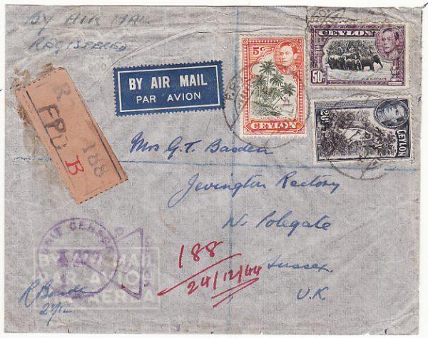 CEYLON - GB...WW2 REGISTERED AIRMAIL..