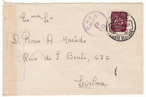 [17975]  PORTUGAL...AZORES to LISBON CENSORED DURING WW2...  1943 (Nov 19)