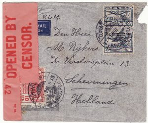 THAILAND-HOLLAND...WW2 CENSORED AIRMAIL via KLM & CENSORED in PALESTINE...
