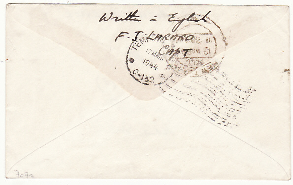 [17990]  INDIA…O.S.S….OFFICE of SRATEGIC SERVICE MAIL...   1944 (Mar 17)