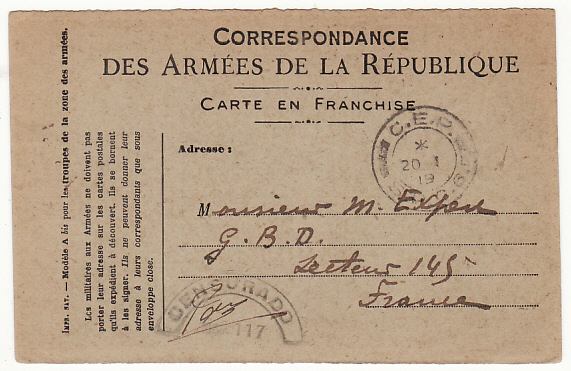[18032]  PORTUGAL …WW1 PORTUGUESE FORCES in FRANCE…  1919 (Jan 15)