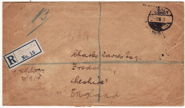 CAMEROUNS - GB …WW1 REGISTERED CAPTURED GERMAN STATIONARY…