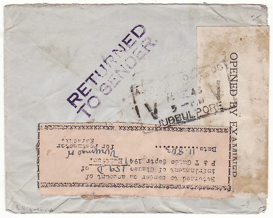 [18048]  INDIA - USA …WW2 RETURNED DUE to INFRINGEMENT OF POSTAL REGULATIONS label…  1943 (Aug 7)