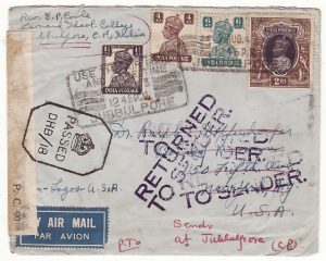 INDIA - USA …WW2 RETURNED DUE to INFRINGEMENT OF POSTAL REGULATIONS label…