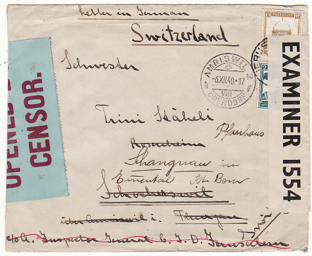 [18054]  PALESTINE - SWITZERLAND…WW2 C.I.D. PERIMETER SETTLEMENT CAMP...   1940 (Jun 26)