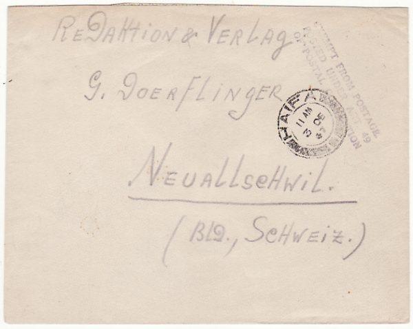 PALESTINE - SWITZERLAND…WW2 THE PALESTINE POLICE FORCE...