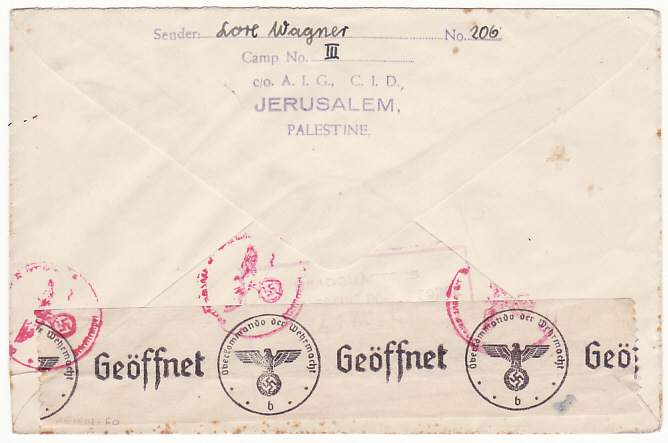 [18059]  PALESTINE -GERMANY…WW2 VIA RED CROSS GENEVA...   1941 (Aug 21)