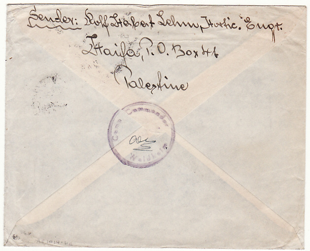 [18061]  PALESTINE - .USA…1948 INTERNEE MAIL...   1948 (Feb 25)