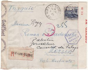 FRANCE - TURKEY ...WW2 FORWARDED to POLISH CONSULATE PALESTINE…