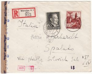 POLAND -CROATIA...WW2 GENERAL GOVERNMENT REGISTERED to ITALIAN OCCUPIED SPALATO…