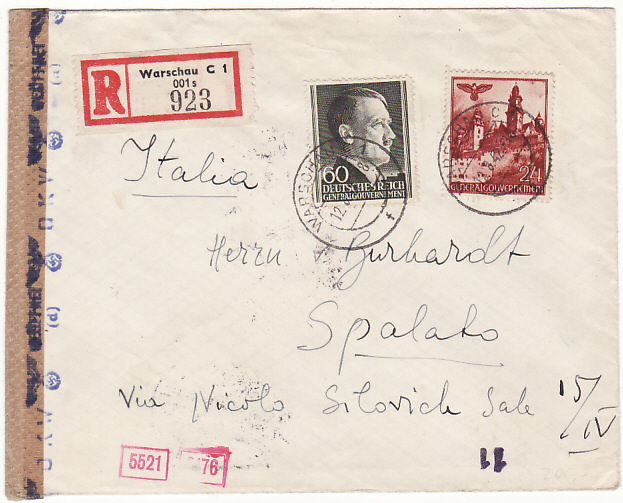 [18119]  POLAND -CROATIA...WW2 GENERAL GOVERNMENT REGISTERED to ITALIAN OCCUPIED SPALATO…  1942 (Aug 12)