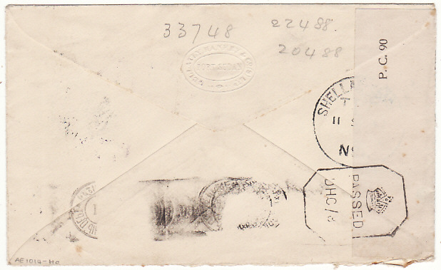 [18121]  SUDAN - INDIA..WW2 1942 SCARCER BOXED K CENSOR...  1942 (Sep 7)